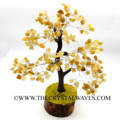 Yellow Aventurine 200 Chips Brown Bark Silver Wire Gemstone Tree With Wooden Base