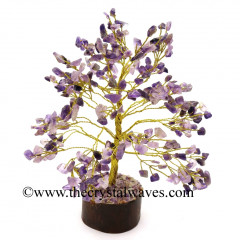 Amethyst 300 Chips Golden Wire Gemstone Tree With Wooden Base