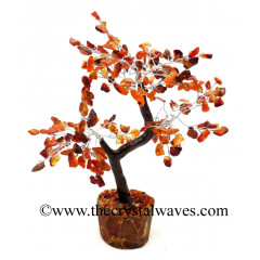 Carnelian 300 Chips Brown Bark Silver Wire Gemstone Tree With Wooden Base