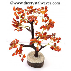 Carnelian 300 Chips Brown Bark Golden Wire Gemstone Tree With Wooden Base