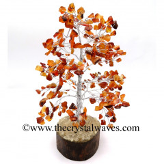 Carnelian 300 Chips Silver Wire Gemstone Tree With Wooden Base