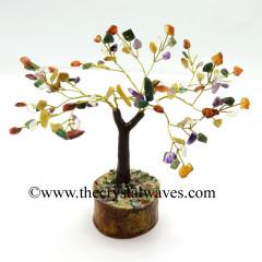 Mix Gemstone 300 Chips Brown Bark Golden Wire Gemstone Tree With Wooden Base
