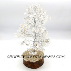 Crystal Quartz 400 Chips Silver Wire Gemstone Tree With Wooden Base