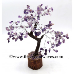 Amethyst 400 Chips Brown Bark Silver Wire Gemstone Tree With Wooden Base