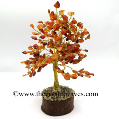 Carnelian 400 Chips Golden Wire Gemstone Tree With Wooden Base