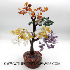 Mix Gemstone 400 Chips Brown Bark Silver Wire Gemstone Tree With Wooden Base
