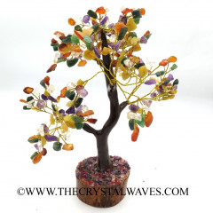 Mix Gemstone 400 Chips Brown Bark Golden Wire Gemstone Tree With Wooden Base