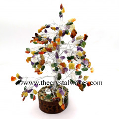 Mix Gemstone 400 Chips Silver Wire Gemstone Tree With Wooden Base