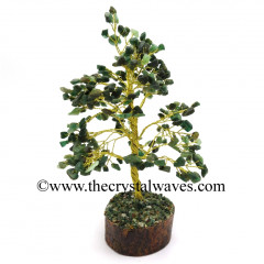 Green Aventurine 400 Chips Golden Wire Gemstone Tree With Wooden Base