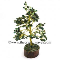 Green Aventurine 400 Chips Golden Wire Gemstone Tree With Wooden Base