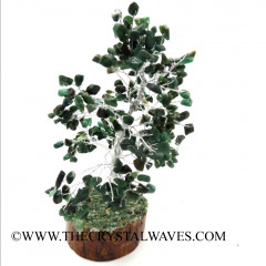 Green Aventurine 400 Chips Silver Wire Gemstone Tree With Wooden Base