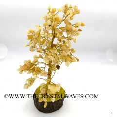 Yellow Aventurine 400 Chips Brown Bark Silver Wire Gemstone Tree With Wooden Base