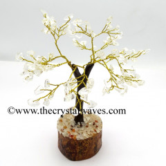 Crystal Quartz 500 Chips Brown Bark Golden Wire Gemstone Tree With Wooden Base