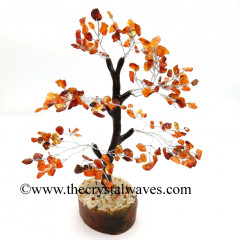 Carnelian 500 Chips Brown Bark Silver Wire Gemstone Tree With Wooden Base