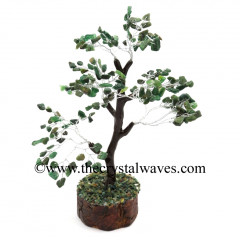 Green Aventurine 500 Chips Brown Bark Silver Wire Gemstone Tree With Wooden Base