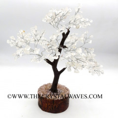 Crystal Quartz Chips Brown Bark Silver Wire Customised Large Gemstone Tree With Wooden Base