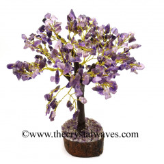Amethyst Chips Brown Bark Golden Wire Customised Large Gemstone Tree With Wooden Base
