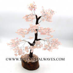 Rose Quartz Chips Brown Bark Silver Wire Customised Large Gemstone Tree With Wooden Base