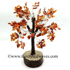 Carnelian Chips Brown Bark Silver Wire Customised Large Gemstone Tree With Wooden Base
