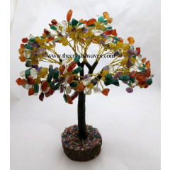 Mix Gemstone Brown Bark Golden Wire Customised Large Gemstone Tree With Wooden Base