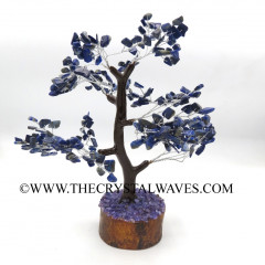 Lapis Lazuli Chips Brown Bark Silver Wire Customised Large Gemstone Tree With Wooden Base