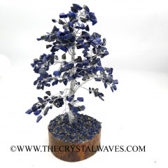 Lapis Lazuli Silver Wire Customised Large Gemstone Tree With Wooden Base