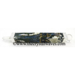 Moss Agate 5 Element Engraved Healing Stick