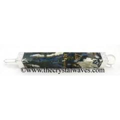 Moss Agate 5 Element Engraved Healing Stick