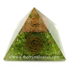 Peridot Chips Orgone Pyramids With Copper Wrrapped Crystal Point