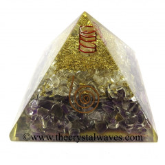 Rose Amethyst & Crystal Chips Orgone Pyramids With Copper Wrrapped Crystal Point