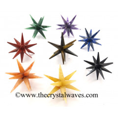 Mix Assorted Gemstones 12 Point Merkaba Star