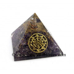 Amethyst Chips Orgone Pyramid With Yantra Symbol