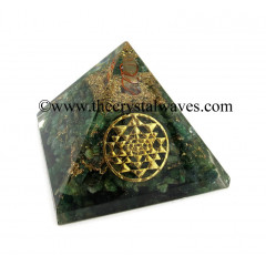 Green Aventurine Chips Orgone Pyramid With Yantra Symbol