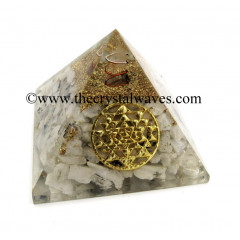 Rainbow Moonstone Chips Orgone Pyramid With Yantra Symbol