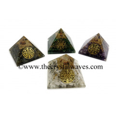 Mix Assorted  Gemstone Chips Orgone Pyramid With Yantra Symbol