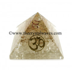 Crystal Quartz Chips Orgone Pyramid With Om Symbol