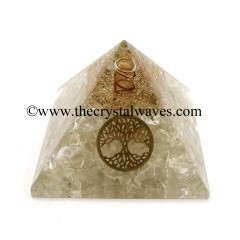 Crystal Quartz Chips Orgone Pyramid With Tree Of Life Symbol