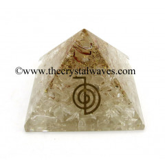 Crystal Quartz Chips Orgone Pyramid With Cho Ku Rei Symbol