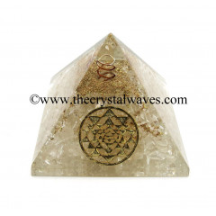 Crystal Quartz Chips Orgone Pyramid With Yantra Symbol