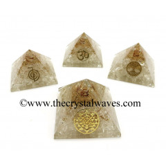 Crystal Quartz Chips Orgone Pyramid With Mix Assorted Symbol