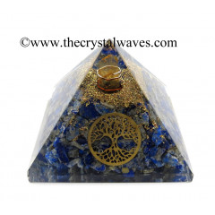 Lapis Lazuli Chips Orgone Pyramid With Tree Of Life Symbol