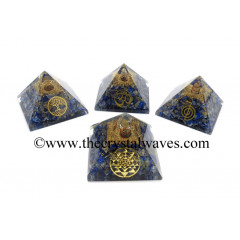 Lapis Lazuli Chips Orgone Pyramid With Mix Assorted Symbol