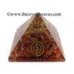 Carnelian Chips Orgone Pyramid With Cho Ku Rei Symbol