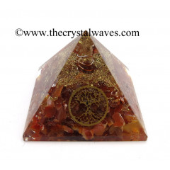 Carnelian Chips Orgone Pyramid With Tree Of Life Symbol