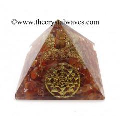 Carnelian Chips Orgone Pyramid With Yantra Symbol