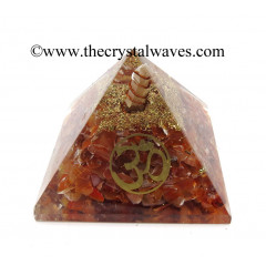 Carnelian Chips Orgone Pyramid With Om Symbol