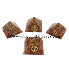 Carnelian Chips Orgone Pyramid With Mix Assorted Symbol