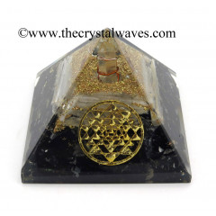 Black Tourmaline & Selenite Chips Orgone Pyramid With Yantra Symbol