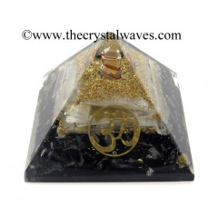 Black Tourmaline & Selenite Chips Orgone Pyramid With Om Symbol