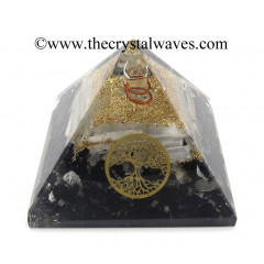 Black Tourmaline & Selenite Chips Orgone Pyramid With Tree Of Life Symbol